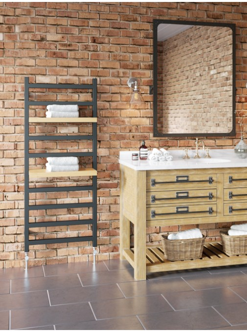 Fender stylish heated towel rail with wooden slabs next to sink and mirror