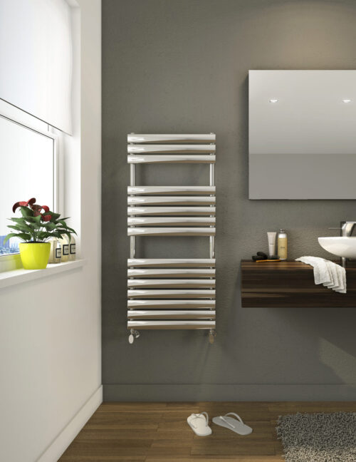 Stainless steel towel rail installed on a grey bathroom wall