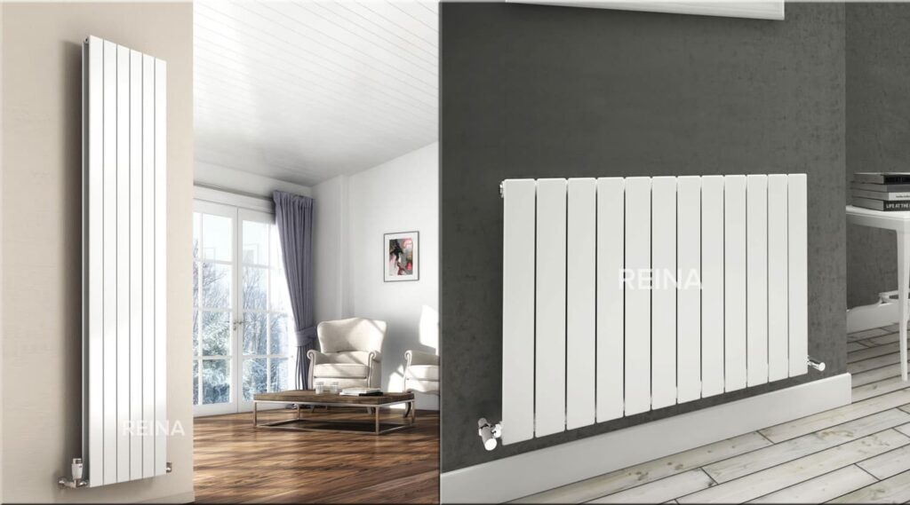features of vertical radiators; a flat vertical double radiator from Reina fits perfectly against the neutral tones of a home