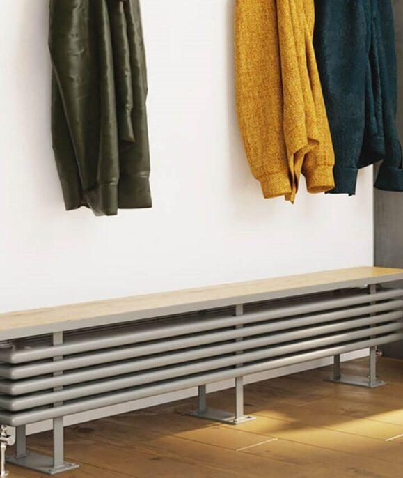 DQ Bench Mild Steel traditional bench Radiator below coat rack