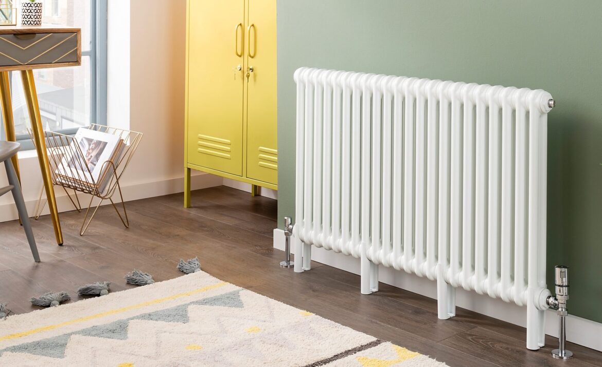 CRU 2 Bespoke Horizontal Column white stylish Radiator in a modern study