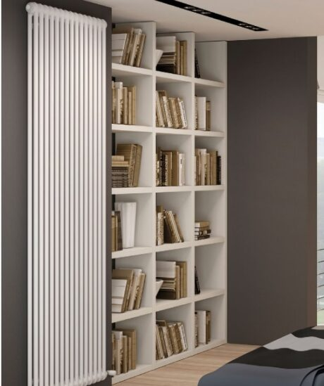 features of a vertical radiator; a floor to ceiling white
