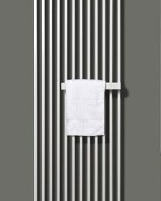 The compact and stylish Arche Vertical radiator with a right-handed towel rail