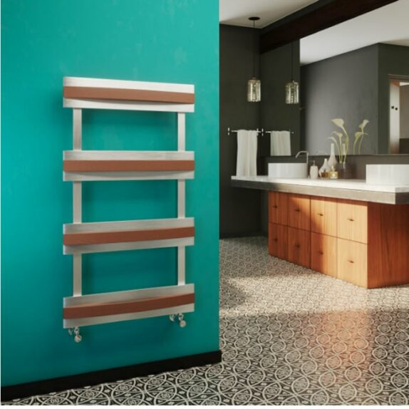 features of vertical radiators; the koha towel radiator from DQ doubles up as a heating rack to dry clothes