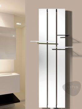 aluminium designer towel radiator installed in a bathroom