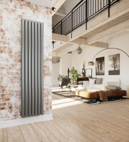 compact radiators for home; stainless steel vertical radiator installed on wall with brown and white designs